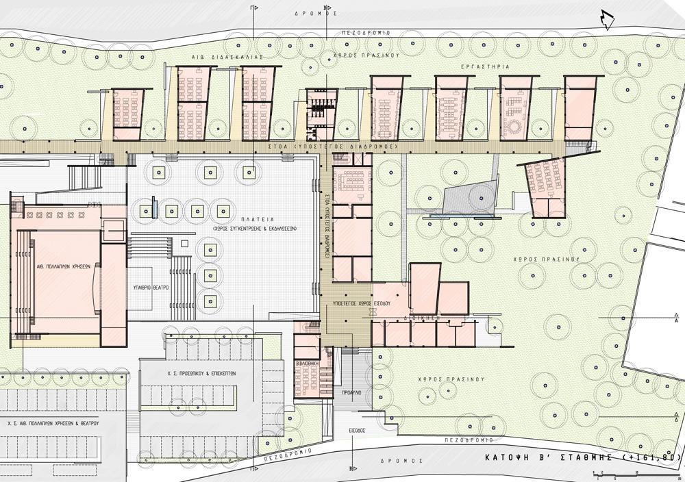 Κάτοψη ενδιάμεσης στάθμης.  Κεντρικά η πλατεία/ αυλή, περιμετρικά οι χώροι διδασκαλίας με τις στοές, η βιβλιοθήκη, οι γραφειακοί χώροι και η αίθουσα πολλαπλών χρήσεων με το υπαίθριο θέατρο στα νότια, © ΑΚ Αρχιτεκτονικό Εργαστήρι