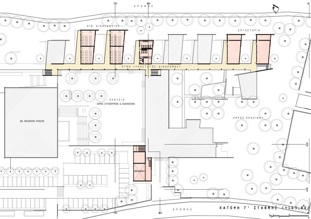 Κάτοψη ορόφου.  Οι ταράτσες προσφέρονται για μελλοντικές επεκτάσεις, © ΑΚ Αρχιτεκτονικό Εργαστήρι