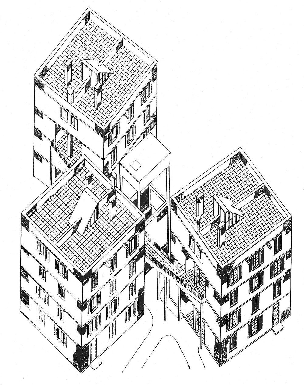 """""""Αξονομετρικό σχέδιο των Διαμερισμάτων Αστυνομικών, Ομορφίτα (μελετήθηκε από τον Κ. Χριστοφίδη και σχεδιάστηκε από τον Μ.Γ. Γιωργαλλή, 1958"""", Σιάαρ, Κέννεθ Γ., Γκίβεν, Μάικλ, Θεοχάρους, Γεώργιος. Κάτω Από το Ρολόι: Αποικιακή Αρχιτεκτονική και ιστορία στην Κύπρο, 1878-1960, Τράπεζα Κύπρου, Λευκωσία: 1995, σελ. 105"""