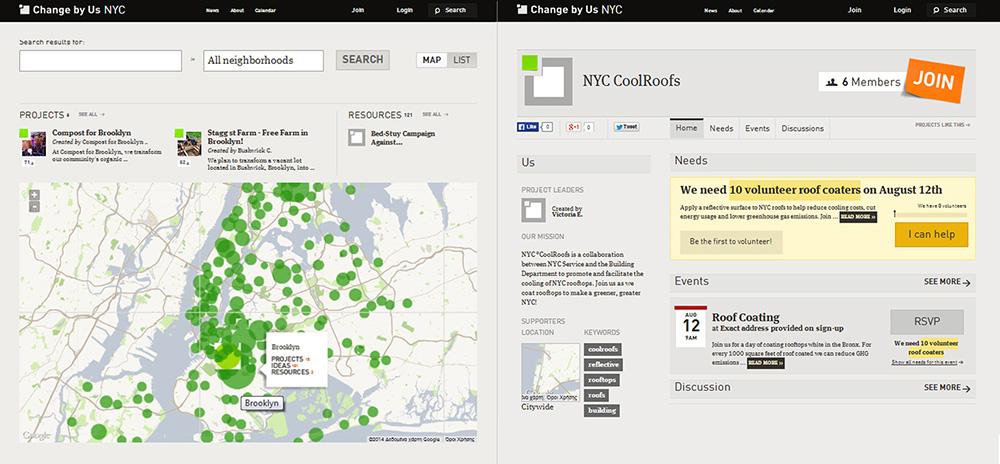 Οι πολίτες μπορούν να δηλώσουν τη συμμετοχής σε προγράμματα της πόλης τα οποία εμφανίζονται σε λίστα και σε χάρτη, ανά γειτονιά © http://nyc.changeby.us/search#map