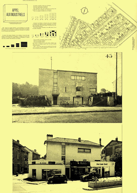 Le Corbusier, Ο εργατικός βιομηχανικός οικισμός του Pessac όπως συσχετίστηκε από τον ίδιο με το κάλεσμα που απεύθυνε στους βιομηχάνους για υιοθέτηση της βιομηχανοποιημένης δόμησης. Τα προβλεπόμενα από τον αρχιτέκτονα κτίρια, δέχτηκαν απρόβλεπτες λειτουργικές και αισθητικές παρεμβάσεις των χρηστών, ανάλογες (στις πιο ακραίες περπτώσεις) εκείνων που εμφανίστηκαν και σε άλλα έργα της περιόδου, όπως το ενδεικτικά εικονιζόμενο.