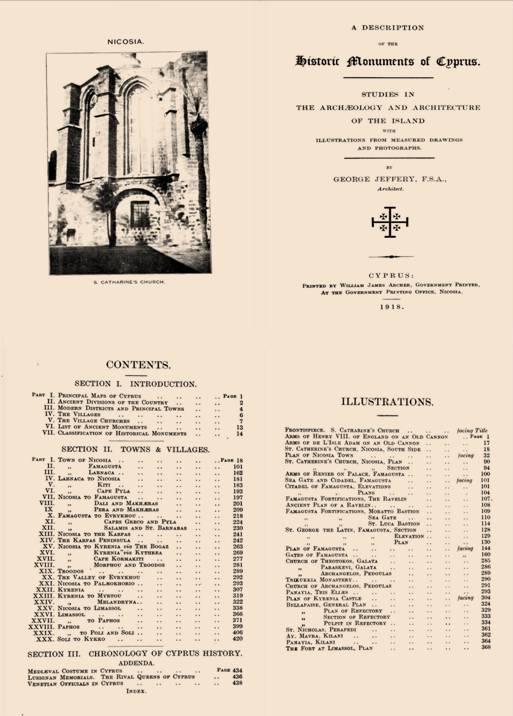 Σελίδες από το έργο του Jeffery, Historic Monuments of Cyprus, στο https://archive.org/stream/cu31924028551319#page/n3/mode/2up.