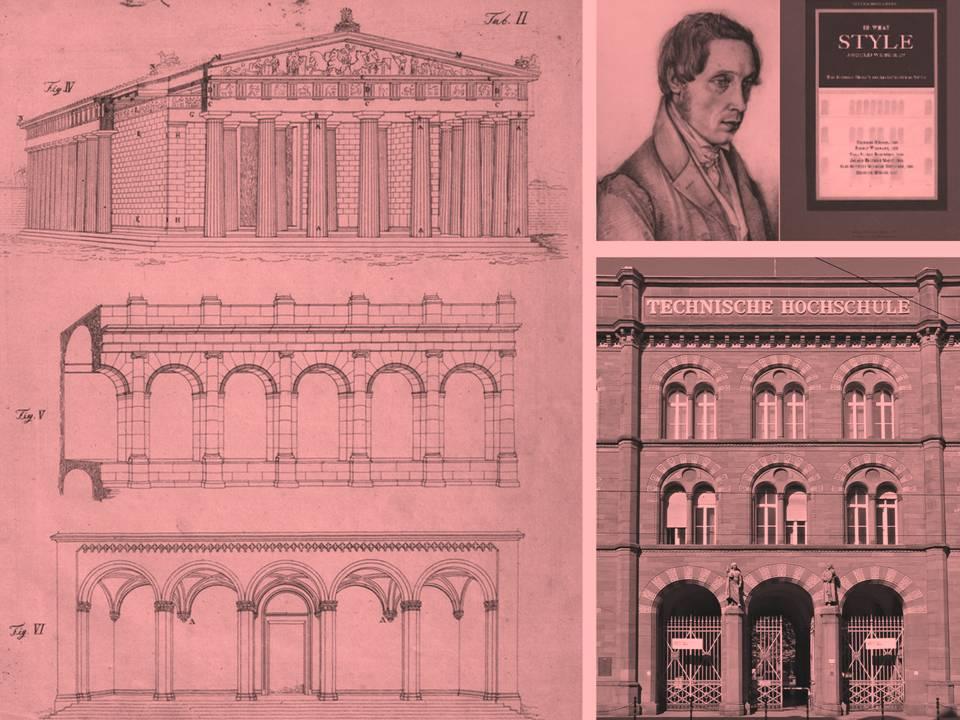 Heinrich Hubsch, πρόσφατη έκδοση του κειμένου του στα αγγλικά με τίτλο In What Style Should We Build? μαζί με τα κείμενα άλλων Γερμανών αρχιτεκτόνων της εποχής πάνω στην αναζήτηση του νέου γερμανικού ρυθμού. Εικόνα από τη μελέτη του και από εφαρμοσμένο έργο του πάνω στη νεο-ρωμανική δική του πρόταση (πρόκειται για το  Rundbogenstil που εφαρμόστηκε ακόμα και στην Αθήνα από Γερμανούς αρχιτέκτονες, βλ. Κτίριο Weiler-ενταγμένο σήμερα στο Νέο Μουσείο Ακρόπολης).