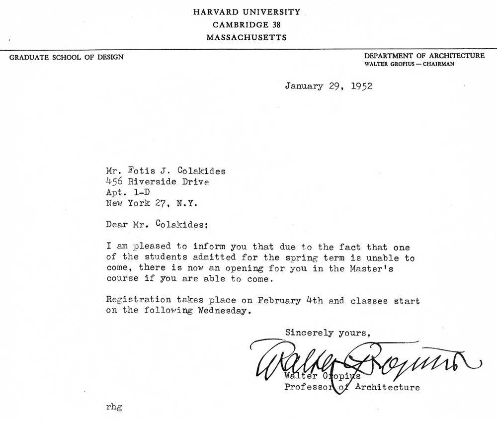 Επιστολή Walter Gropius (29 Ιανουαρίου 1952), © Αρχείο Φώτη Κολακίδη