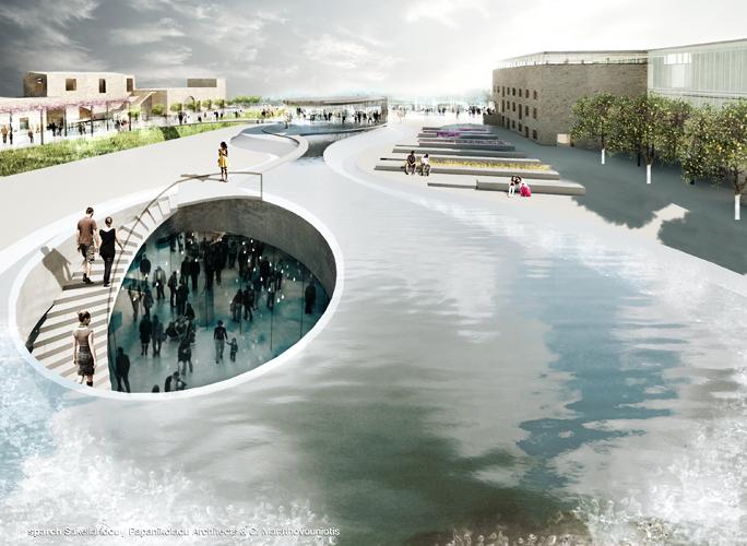Η Πλατεία και το υγρό στοιχείο © sparch Sakellaridou/ Papanikolaou Architects, Marathovouniotis