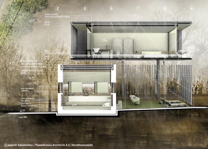 Τομή / Container © sparch Sakellaridou/ Papanikolaou Architects, Marathovouniotis