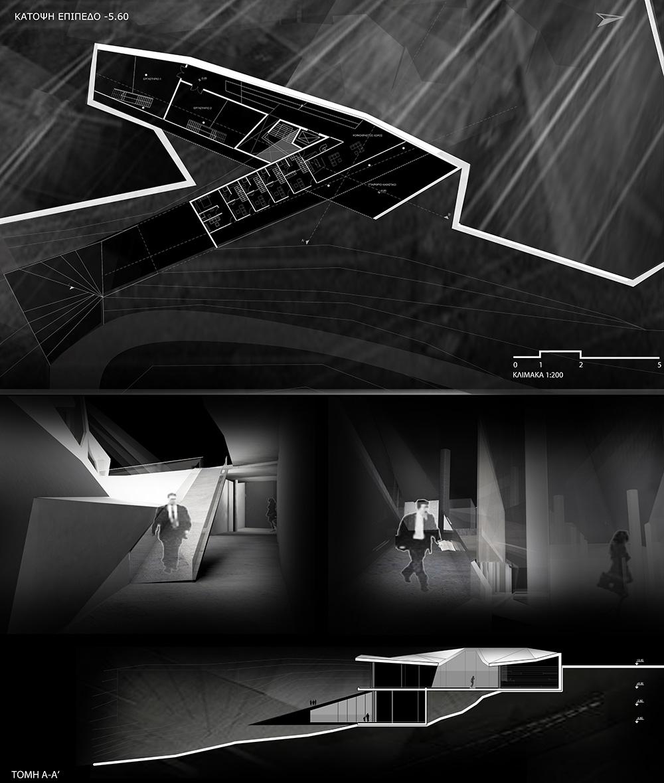 Κάτοψη επίπεδο -5.60 & τομή Α-Α' & τρισδιάστατες απεικονίσεις, © Μαρίνα Σοφοκλέους Άρτεμις Χριστοδούλου