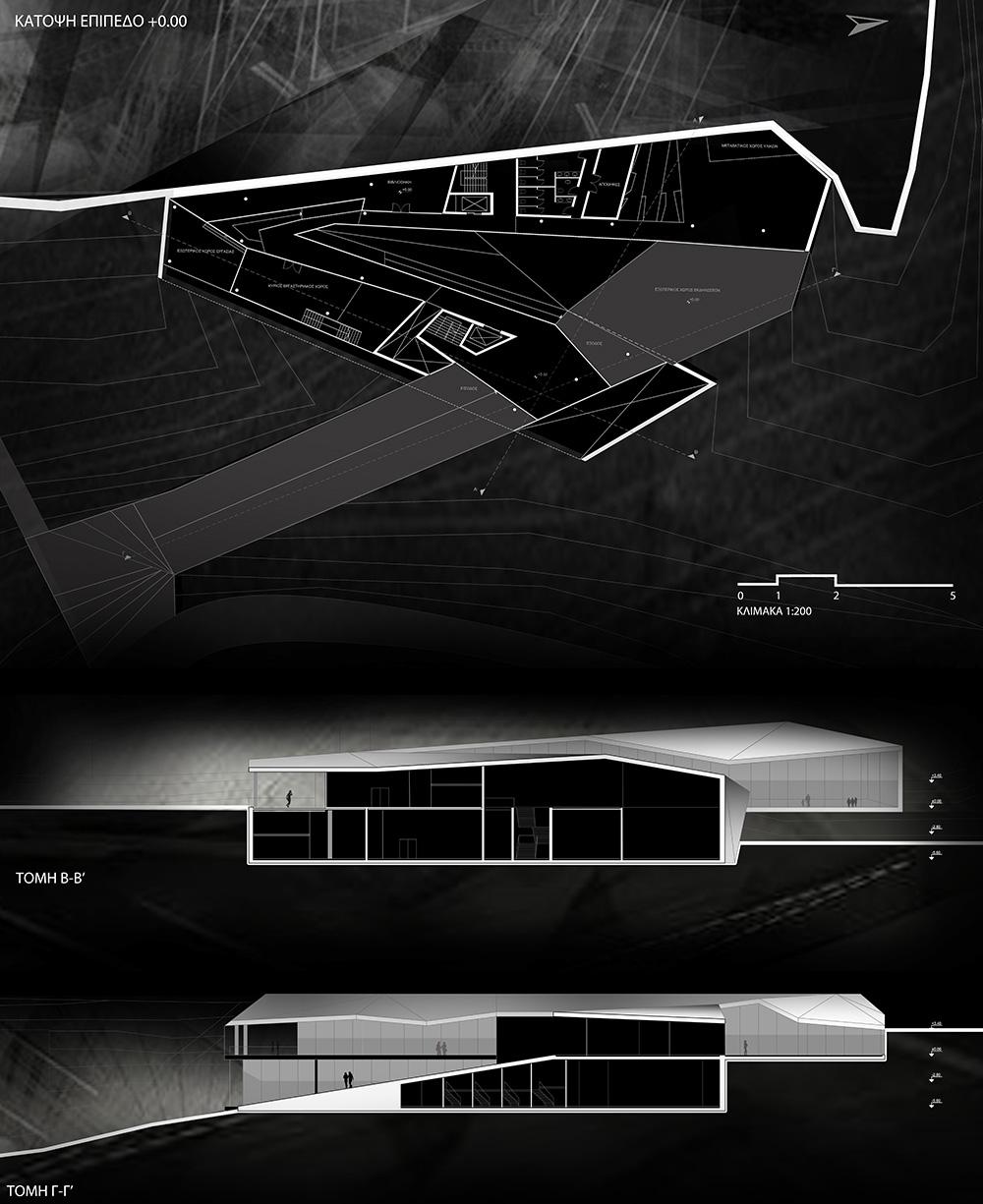 Κάτοψη επίπεδο +0.00 & τομή Α-Α' & τομή Β-Β', © Μαρίνα Σοφοκλέους Άρτεμις Χριστοδούλου