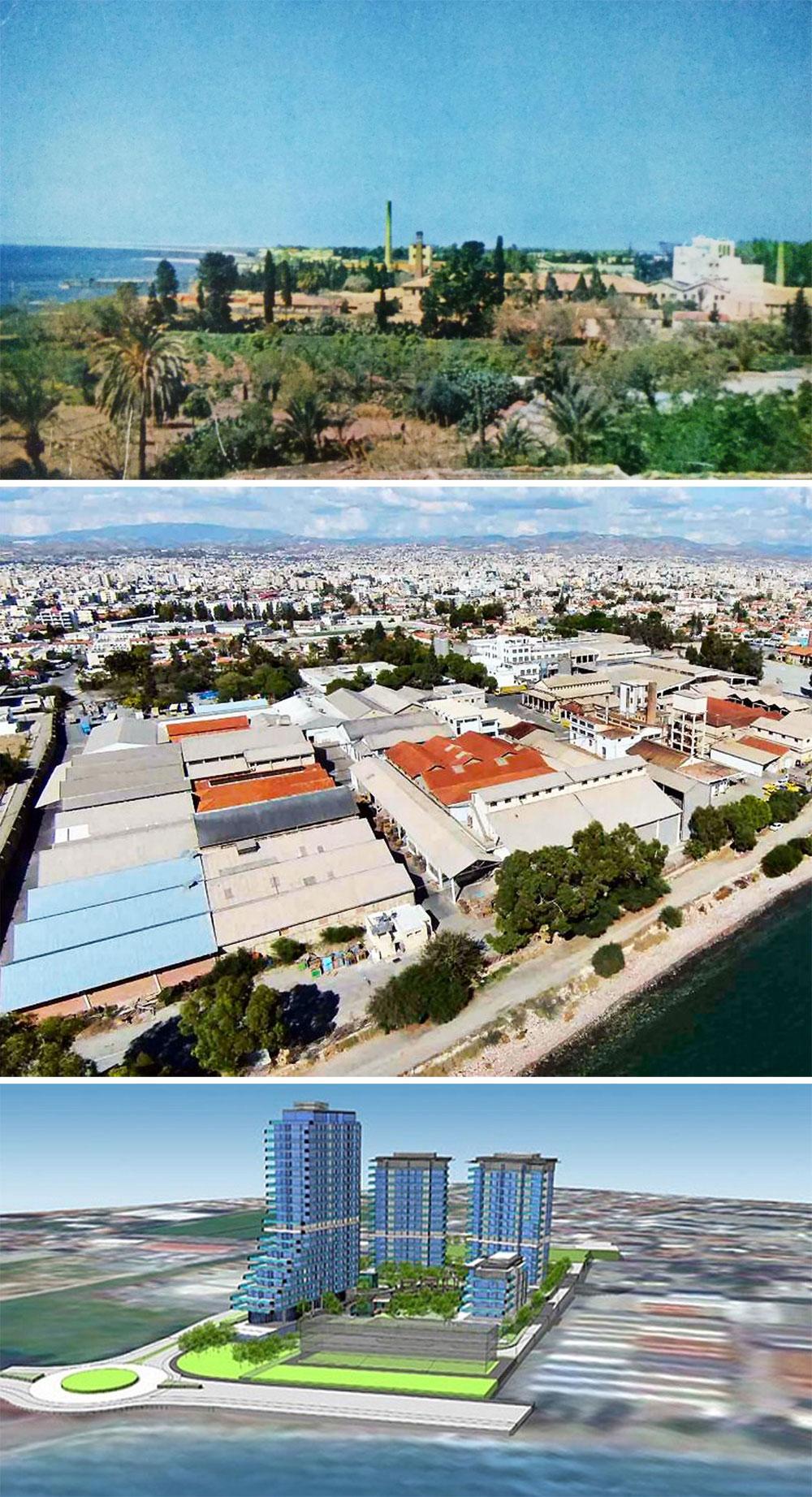 Η περιοχή δυτικά του παλαιού λιμανιού στη Λεμεσό. Καρτ ποστάλ από τις αρχές του προηγούμενου αιώνα / η περιοχή όπως είναι σήμερα / και το πώς οι επιχειρηματίες ανάπτυξης γης οραματίζονται την περιοχή, © Φωτογραφίες από το διαδίκτυο