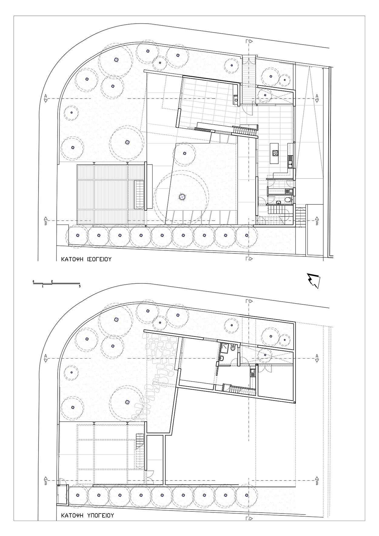 Κατόψεις Υπογείου & Ισογείου, ©ΑΚ Αρχιτεκτονικό Εργαστήρι