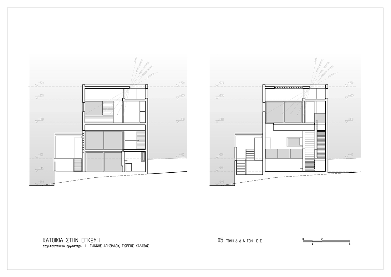 Τομή Δ-Δ & Ε-Ε, © ΑΚ Αρχιτεκτονικό Εργαστήρι