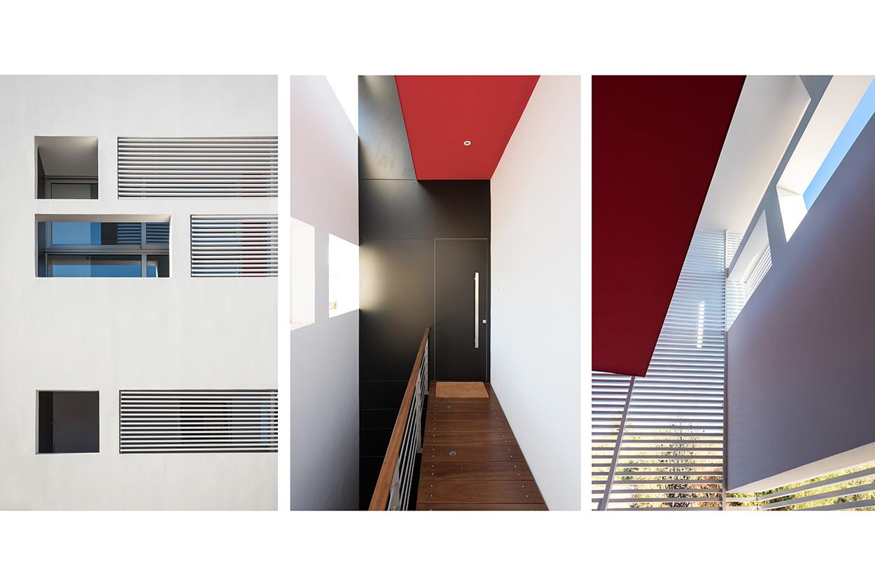 Λεπτομέρειες εισόδου. Η αισθητική του κτιρίου προκύπτει καθαρά μέσα από την ογκοπλασία, το παιχνίδι του φωτός με τη σκιά, την πλαστικότητα, τη χρήση υλικών και χρωμάτων, © Χάρης Σολωμού (Architectural Photography)
